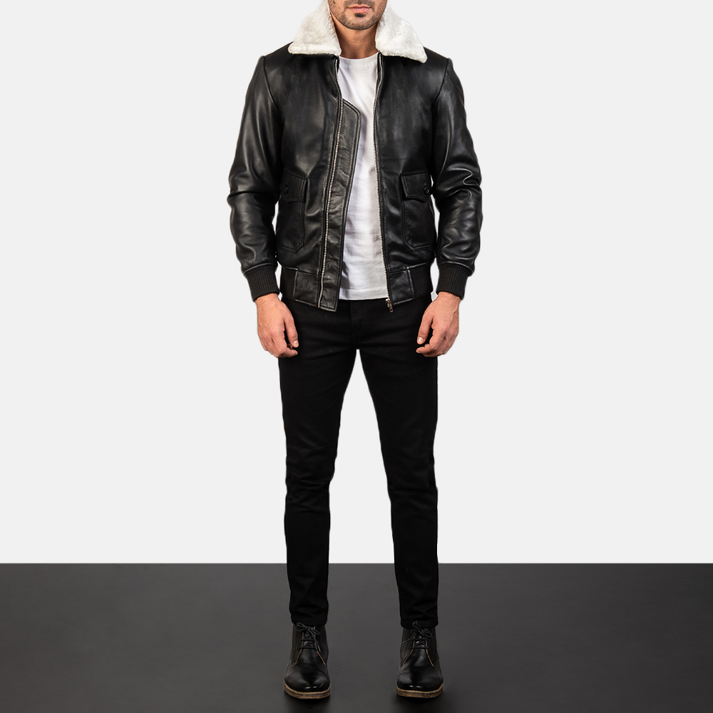 Airin G-1 Black & White Leather Bomber Jacket for Men