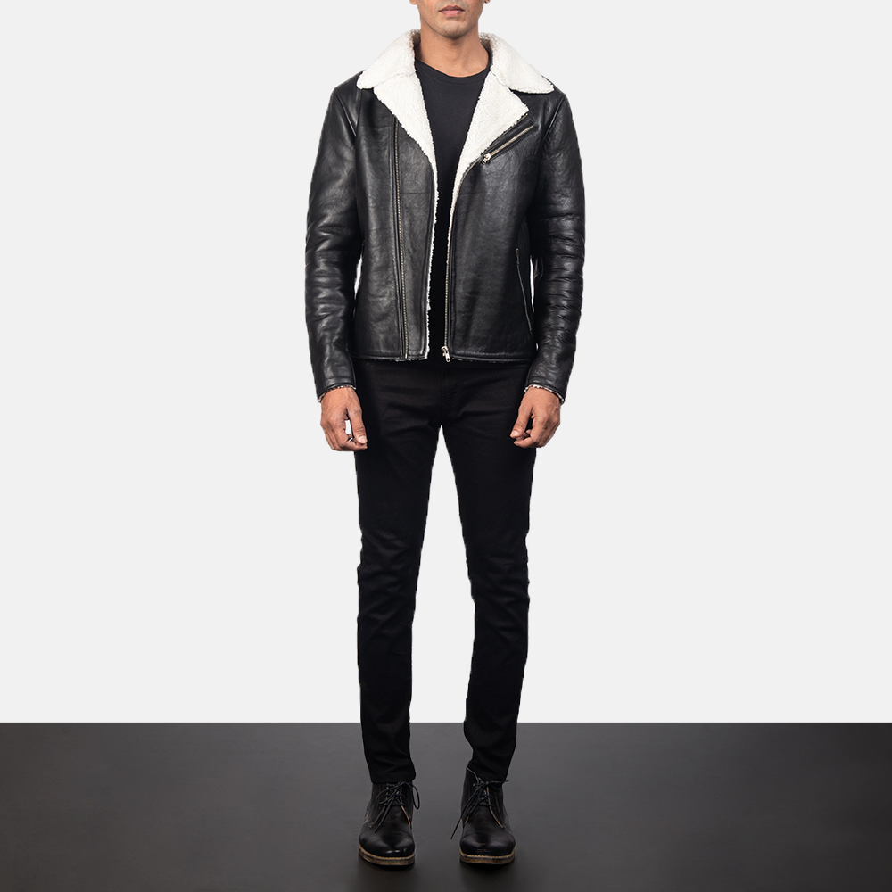 Alberto White Shearling Black Leather Jacket for Men