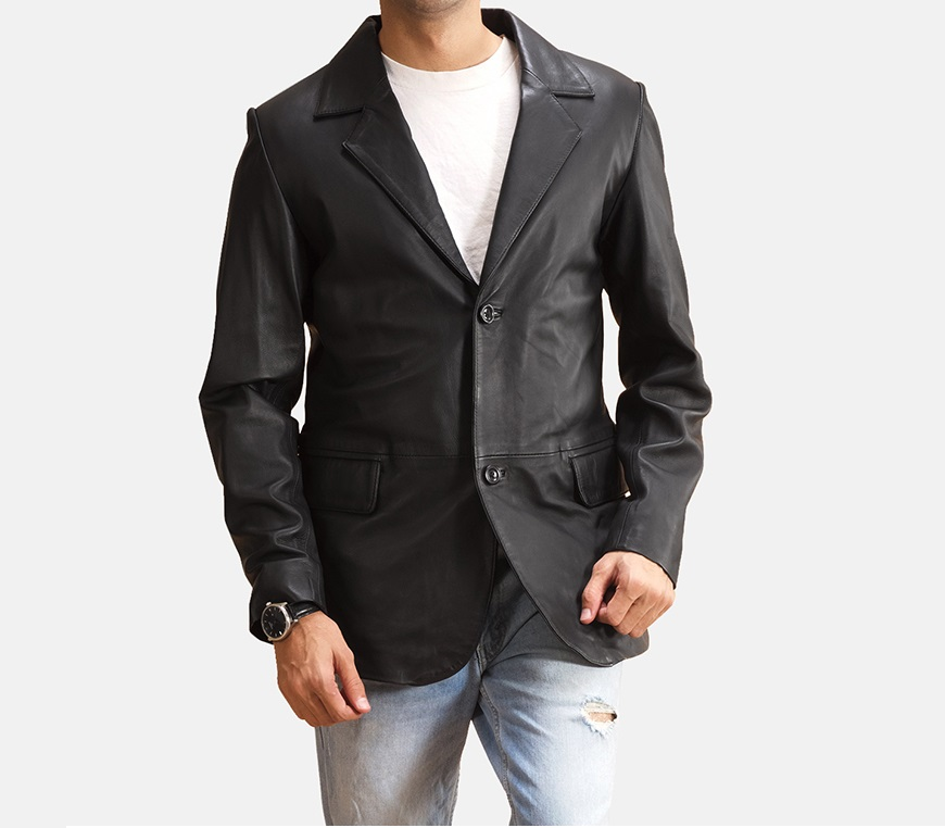 Alyson Black Leather Blazer for Men