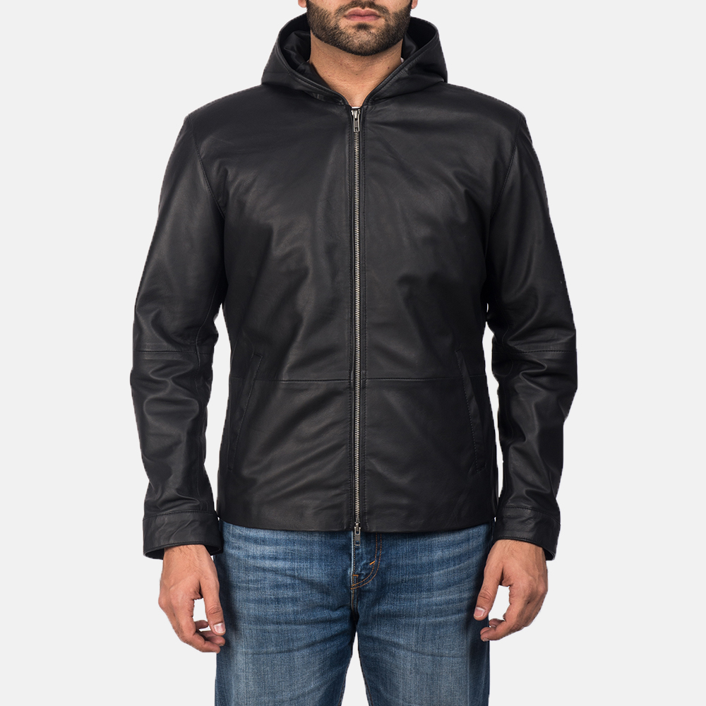 Andy Matte Black Hooded Leather Jacket For Men