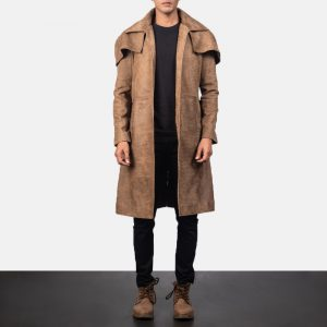 Army Brown Leather Duster for Men