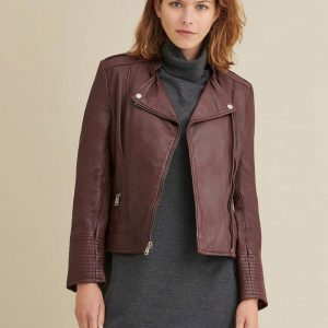Asymmetrical Maroon Leather Jacket for Women