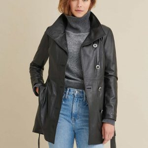 Belted Leather Jacket for Women