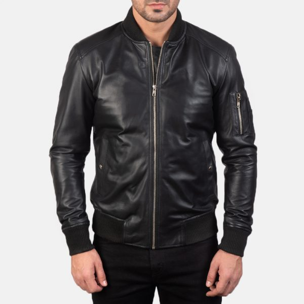 Best Bomia Ma-1 Black Leather Bomber Jacket for Men
