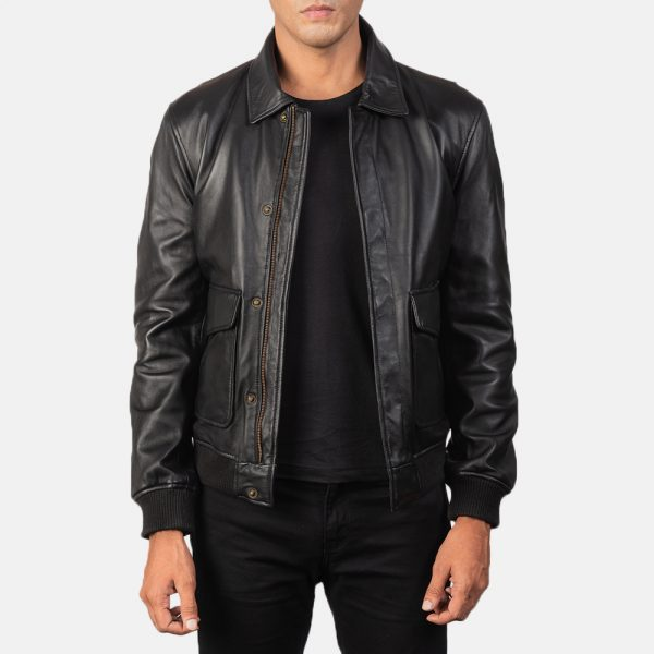 Best Coffmen Black Leather Bomber Jacket for Men