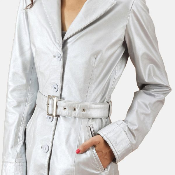 best Moonlight Silver Leather Trench Coat for Women