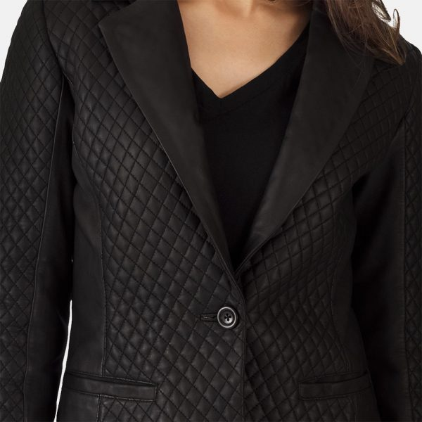 Best Quilted Black Leather Blazer for Women
