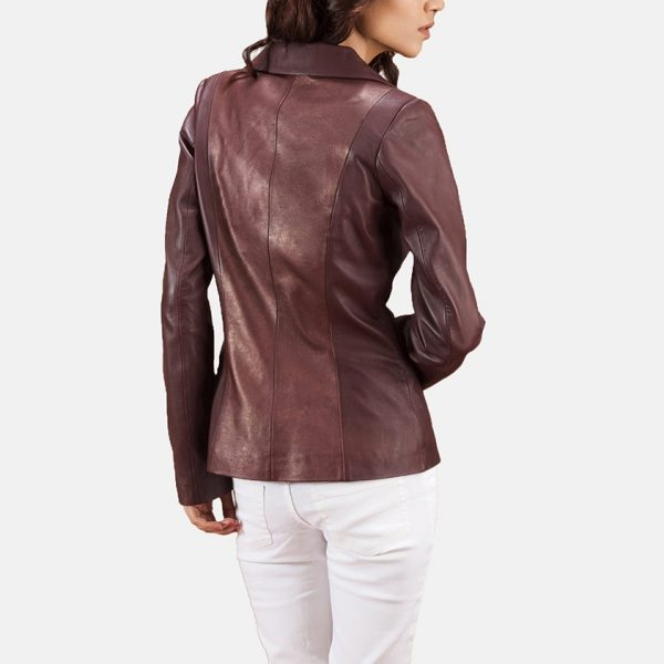 best Ruby Metallic Maroon Leather Blazer for Women