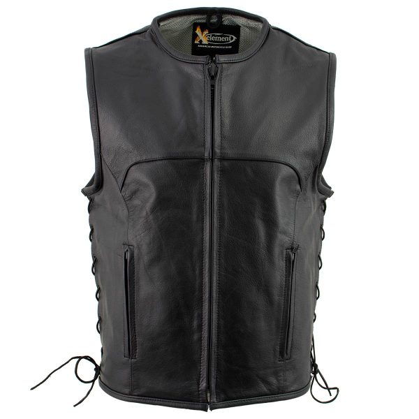 Black Advanced Collarless Leather Motorcycle Vest for Men