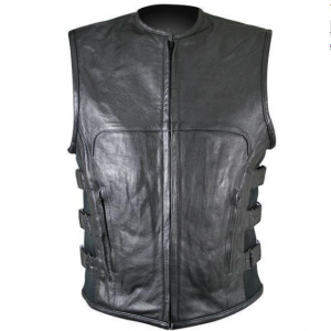 Black Advanced Triple Strap Design Leather Motorcycle Vest for Men