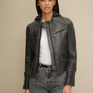 Black Hooded Leather Jacket for Women