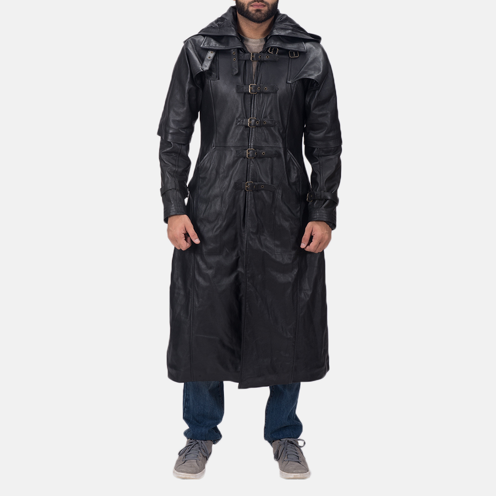Black Hooded Leather Trench Cosplay for Men