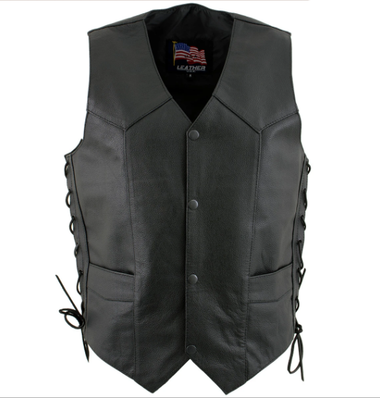 Black Leather 4 Button Side Lace Vest for Men