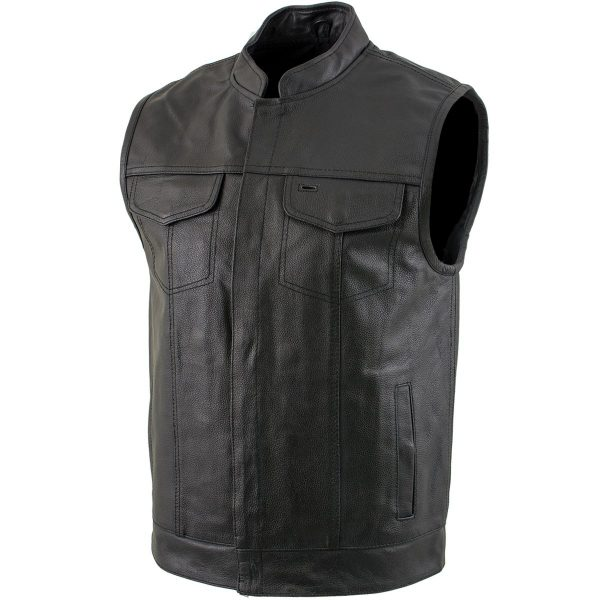 Black Leather Gun Pocket Vest for Men