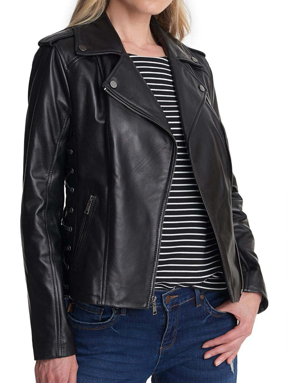 Black Leather Jacket with Side Lacing for Women