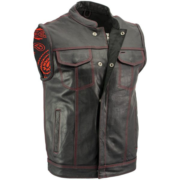 Black Leather Motorcycle Vest with Red Stitching for Men