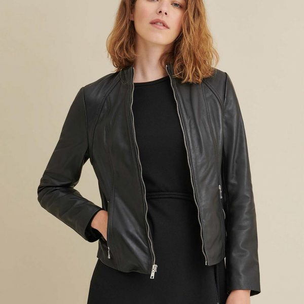Black Leather Scuba Jacket for Womens