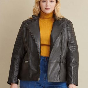 Black Quilted Leather Jacket for Women
