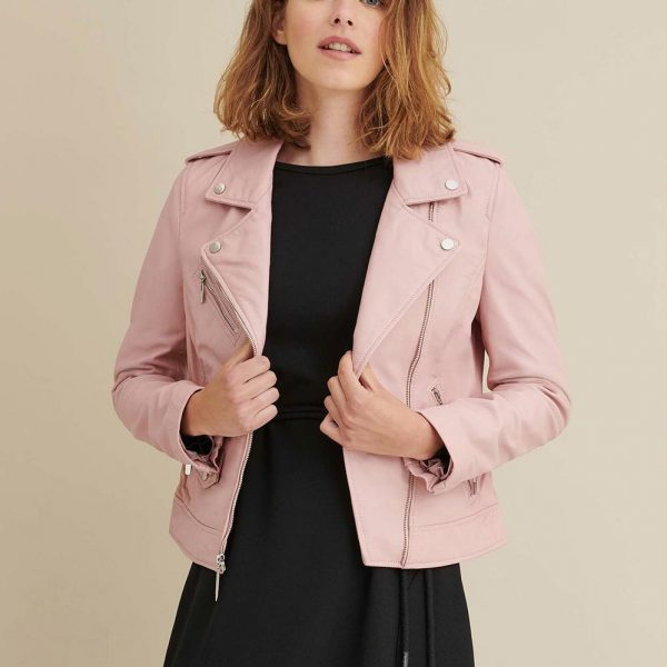 Blush Asymmetrical Leather Jacket for Women