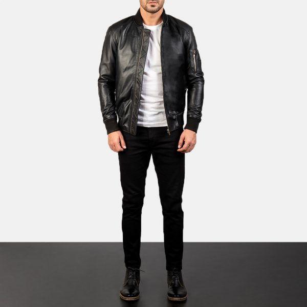 Bomia Ma-1 Black Leather Bomber Jacket for Men