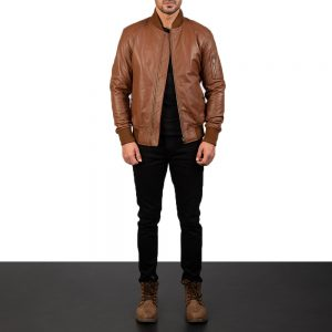 Bomia Ma-1 Brown Leather Bomber Jacket for Men