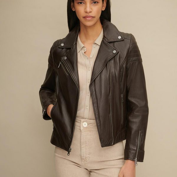 Brown Leather Moto Jacket for Women