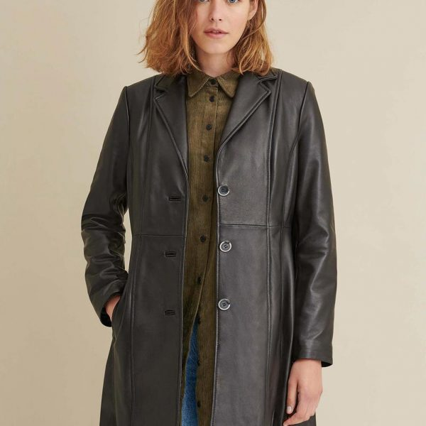 Button Down Lamb Leather Trench for Women