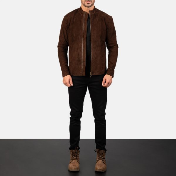 Charcoal Mocha Suede Biker Jacket for Men