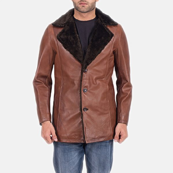 Cinnamon Brown Leather Fur Coat for Men