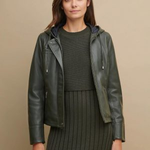 Classic Green Hooded Leather Jacket for Women
