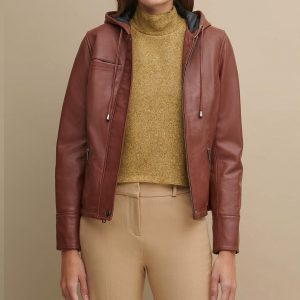 Classic Hooded Leather Jacket for Women