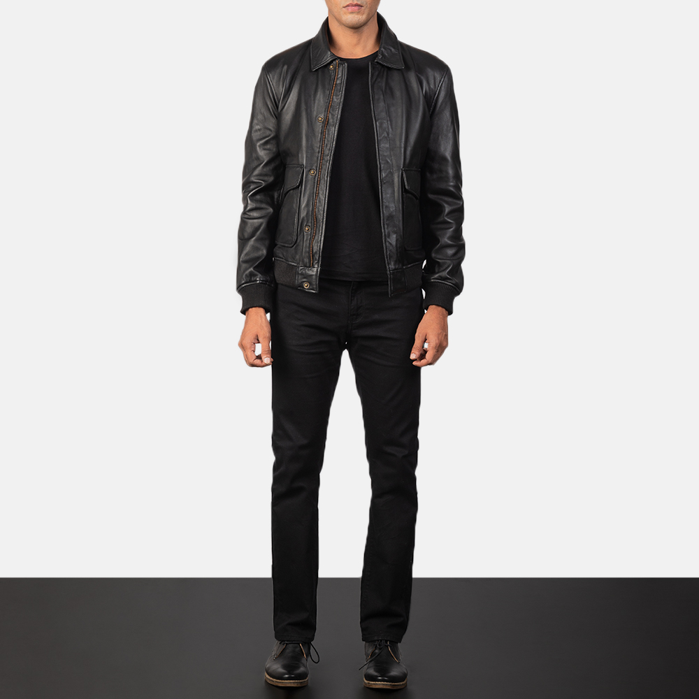 Coffmen Black Leather Bomber Jacket for Men