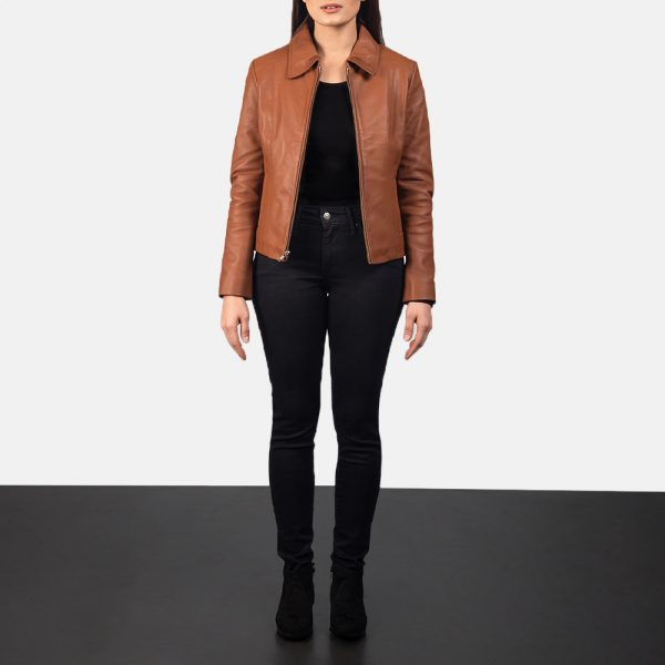 Colette Brown Leather Jacket forWomen
