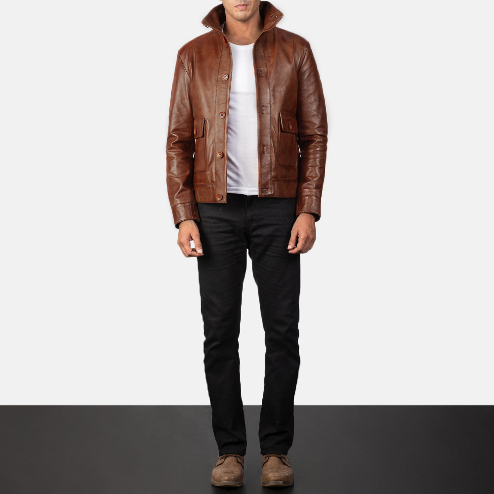 Columbus Brown Leather Bomber Jacket for Men