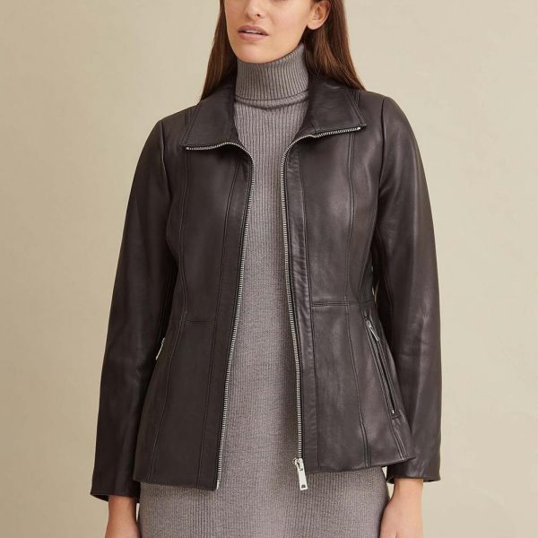 Convertible Collar Leather Jacket for Women