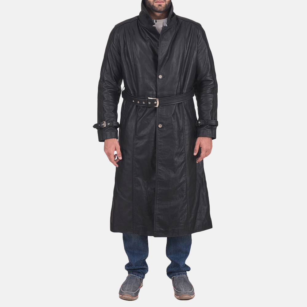 Daniel Black Leather Trench Coat for Men