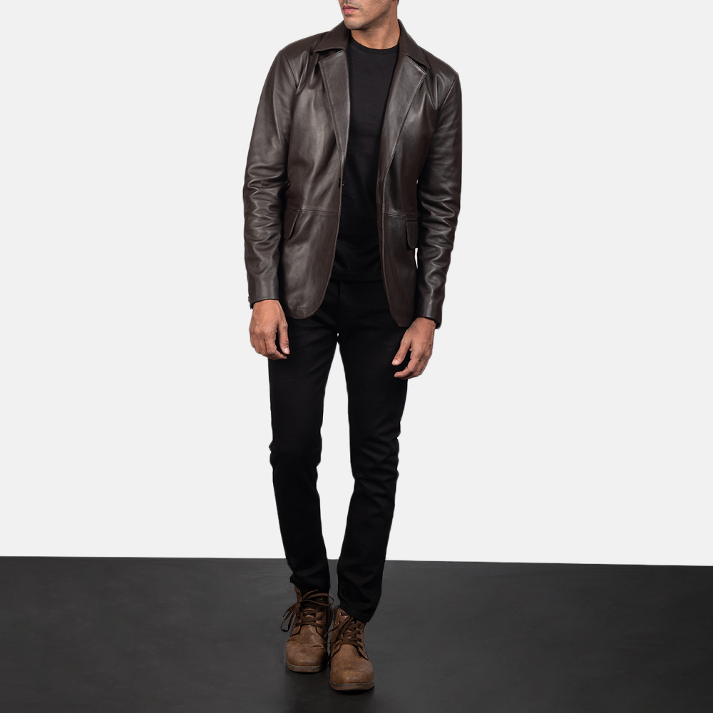Daron Brown Leather Blazer for Men