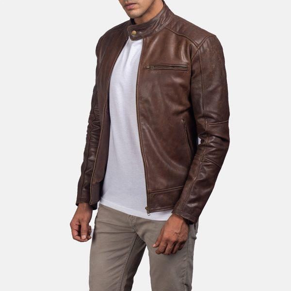 best Dean Brown Leather Biker Jacket