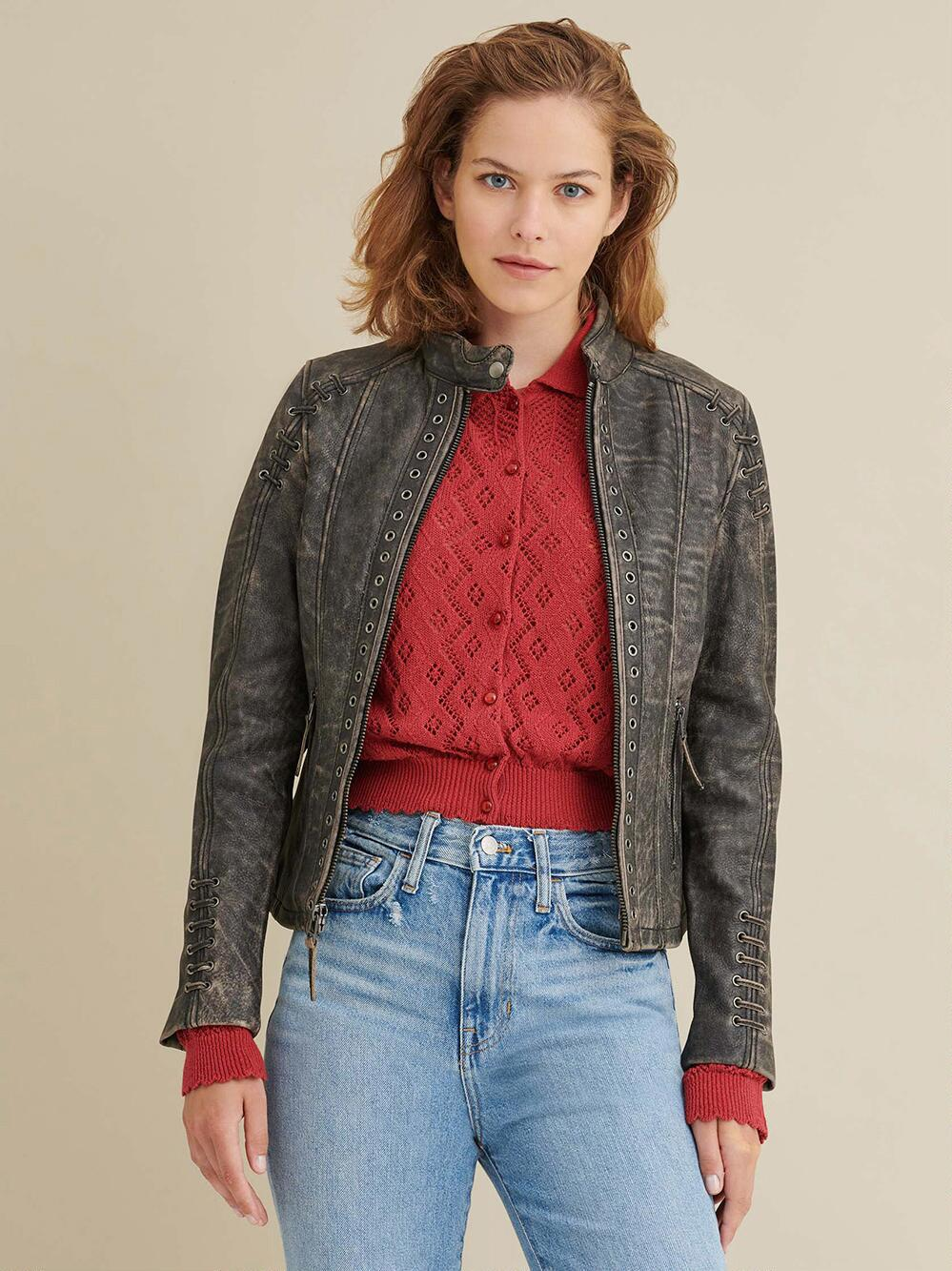 Distressed Leather Jacket for Women