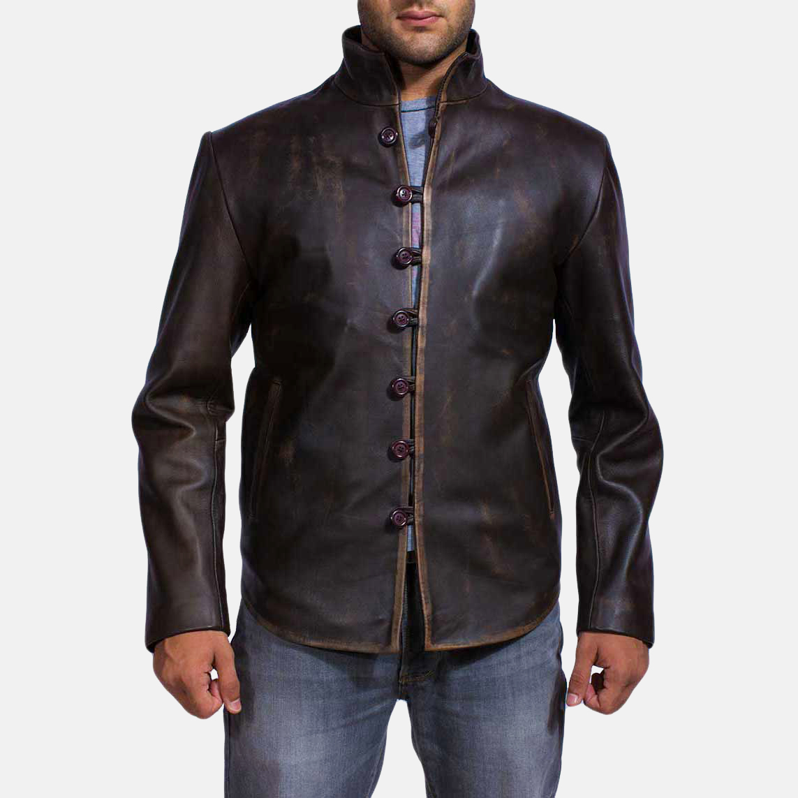 Drakeshire Brown Leather Jacket for Men