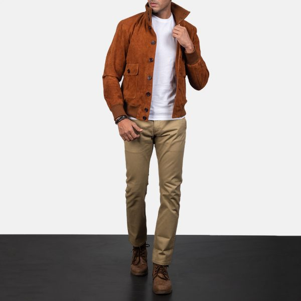 Eaton Brown Suede Bomber Jacket for Men