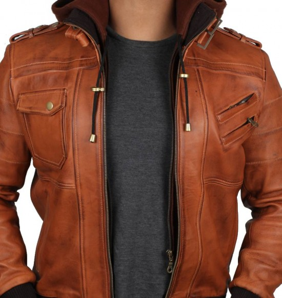 Edinburgh Brown Hooded Leather Jacket for Men