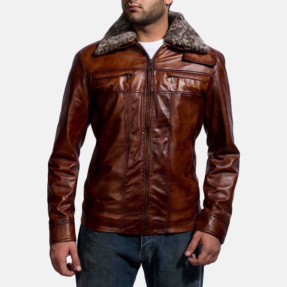 Evan Hart Fur Brown Leather Jacket for Men