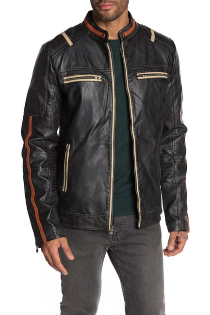 Faux Leather Moto Jacket for Men