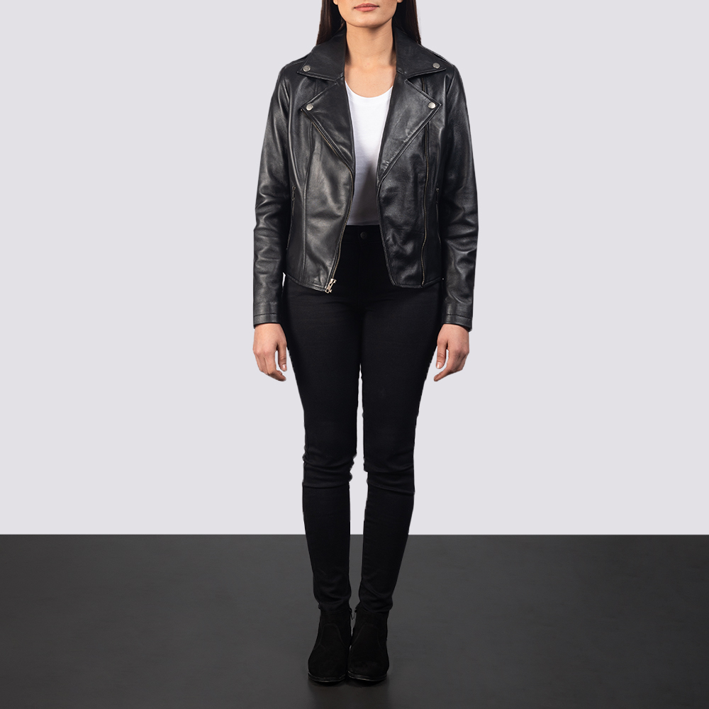 Flashback Black Leather Biker Jacket for Women