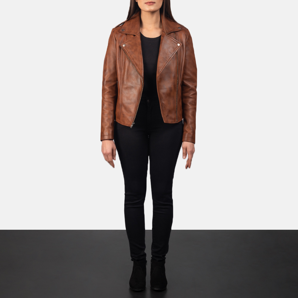 Flashback Brown Leather Biker Jacket for Women