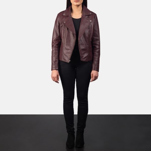 Flashback Maroon Leather Biker Jacket for Women