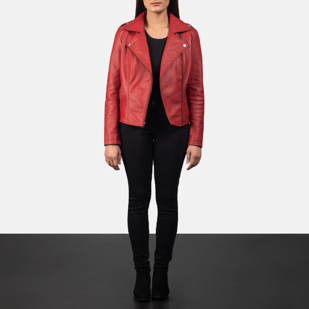Flashback Red Leather Biker Jacket for Women