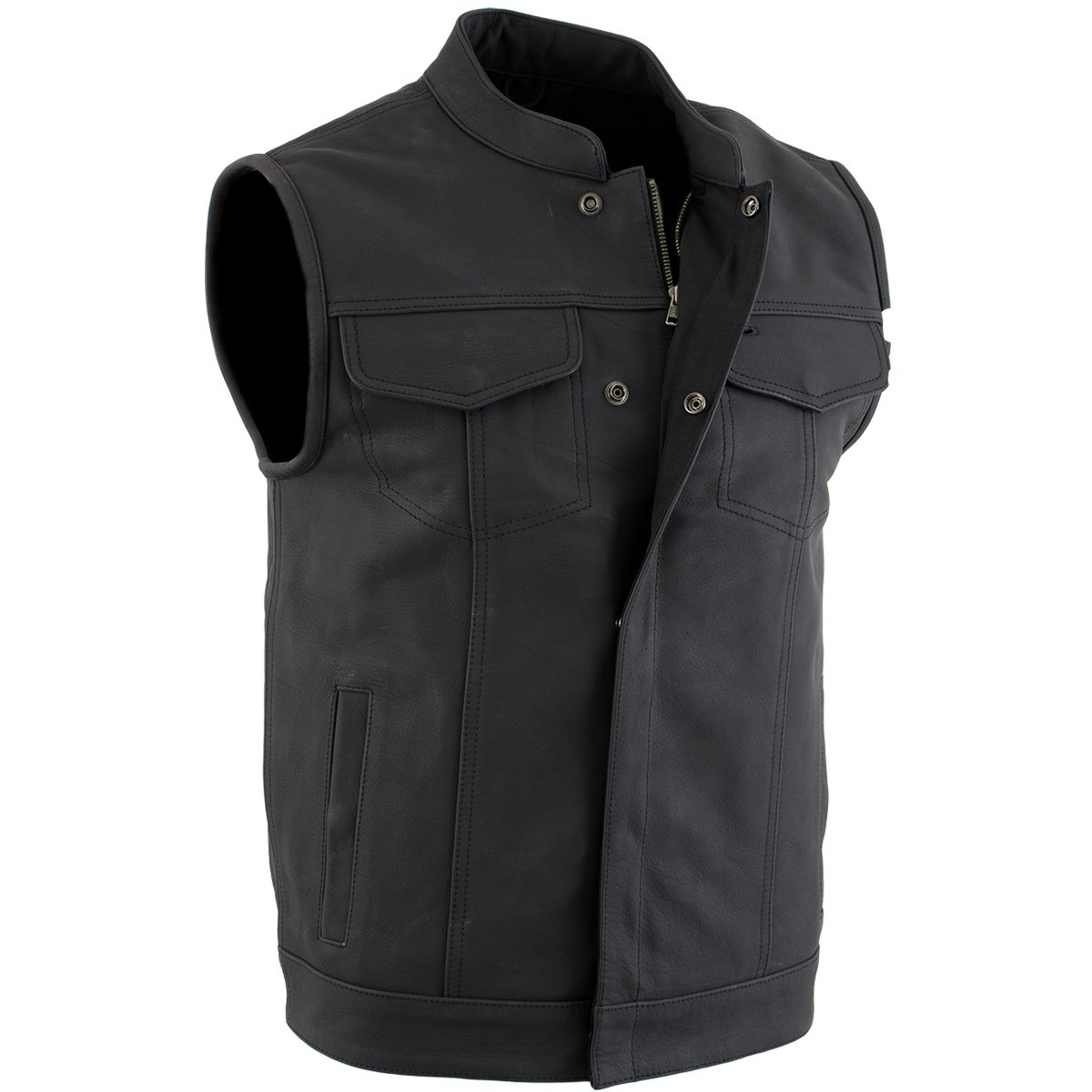 Flat Black Club Leather Vest for Men