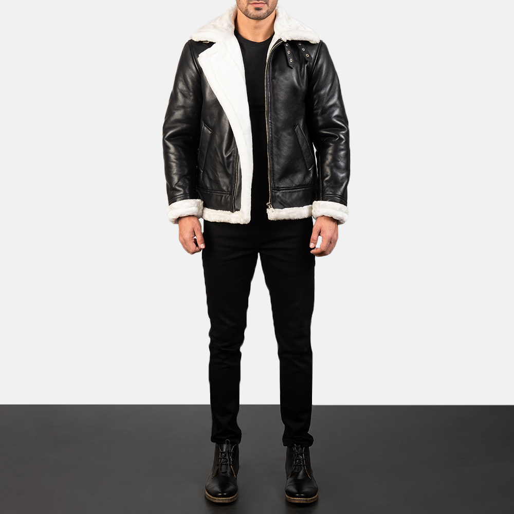 Francis B-3 Black & White Leather Bomber Jacket for Men